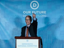 Tom Perez addresses the audience after being elected Democratic National Chair during the Democratic National Committee winter meeting in Atlanta