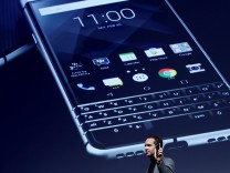 TCL Communication's CEO Nicolas Zibell presents the new BlackBerry Key One before the Mobile World Congress in Barcelona