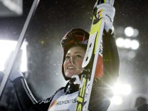 Carina Vogt of Germany celebrates after winning the ladies normal hill (HS100) ski jumping final in the FIS Nordic Ski World Championships in Lahti
