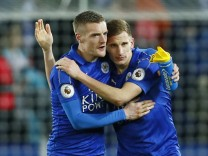 Leicester City's Jamie Vardy celebrates after the game with Marc Albrighton