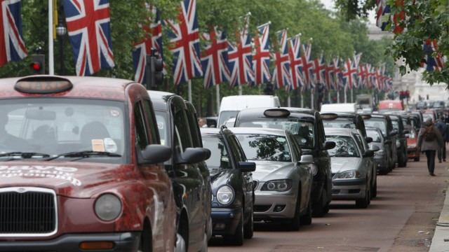 Cars queue up The Mall during traffic choas and tube strikes in London