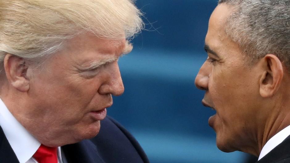 US-Präsident Donald Trump und Barack Obama bei der Inauguration