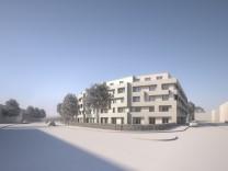 Visualisierung des geplanten Studentenwohnheims der Classic Bautreuhand GmbH & Co KG an der Freisinger Landstraße 21, ehemalige Druckerei Biering