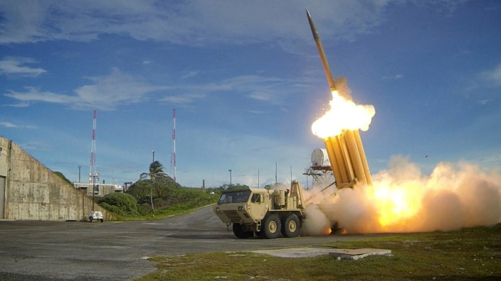 FILE PHOTO: A THAAD interceptor is launched during a successful intercept test