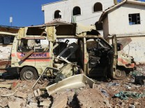 A damaged ambulance is pictured after an airstrike on the rebel-held town of Atareb, in the countryside west of Aleppo