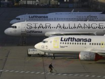 Planes stand on the tarmac during a pilots strike of German airline Lufthansa at Frankfurt airport