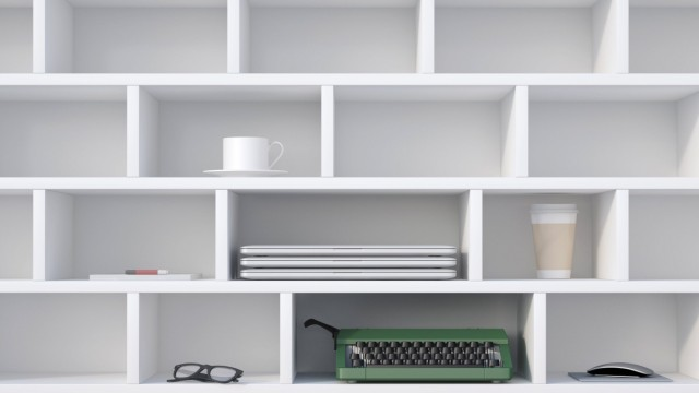 Office shelf with typewriter laptops coffe cup and other things 3D Rendering PUBLICATIONxINxGERxS