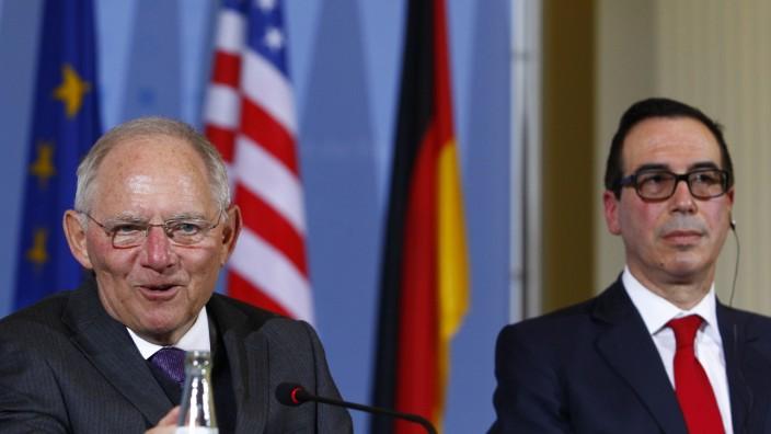 German Finance Minister Schaeuble Meets New U.S. Treasury Secretary Mnuchin