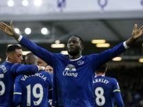 Everton's Romelu Lukaku celebrates scoring their third goal