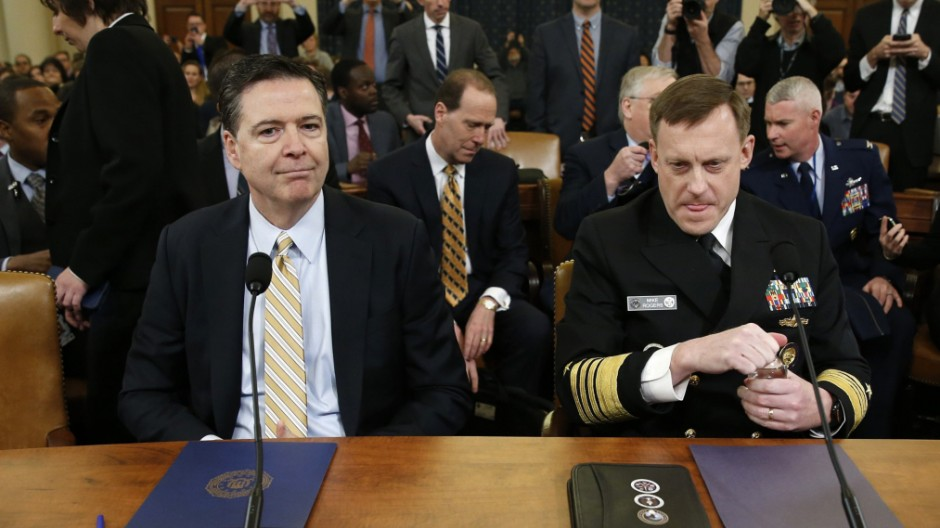 FBI Director Comey and NSA Director Rogers House attend Intelligence Committee hearing in Washington