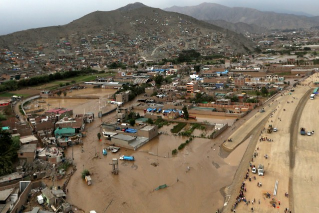 Aerial view after a massive landslide and flood in the Huachipa district of Lima