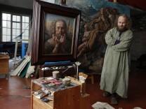 Boris Koller in seinem Atelier in München, 2012