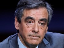 Francois Fillon, former French prime minister, member of the Republicans political party and 2017 presidential election candidate of the French centre-right, attends the Association of the Mayors of France (AMF) conference in Paris