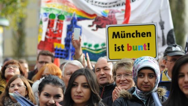 Demonstration gegen ausländerfeindliche Kundgebung in München, 2012