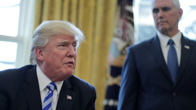 President Trump talks to journalist at the Oval Office of the White House after the AHCA health care bill was pulled before a vote in Washington, U.S.