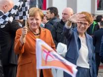 Merkel bei Endspurt im saarländischen Landtagswahlkampf