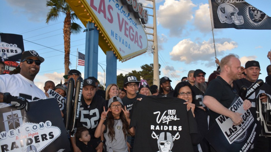 March 27 2017 Las Vegas Nevada United States of America Las Vegas Raiders fans hold a rally a