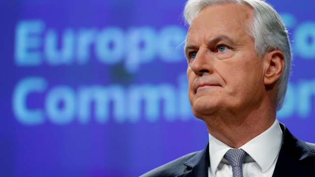 FILE PHOTO: EU Brexit negotiator Barnier holds a news conference in Brussels