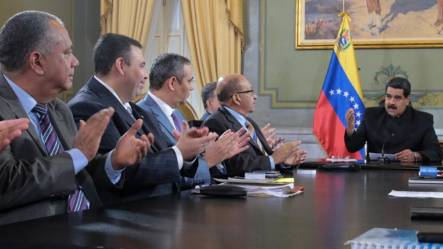 Venezuela's President Maduro speaks during a meeting with ministers and other Venezuelan authorities at Miraflores Palace in Caracas