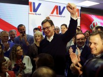 Serbian Prime Minister and presidential candidate Aleksandar Vucic celebrate his win at presidential election in his headquarters in Belgrade