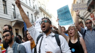 Students shout slogans during a demonstration against Prime Minister Viktor Orban's efforts to force a George Soros-founded university out of the country in Budapest