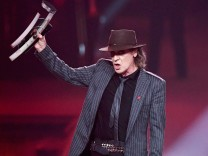 German singer Udo Lindenberg wins the best national pop male artist award during the 2017 Echo Music Award ceremony in Berlin