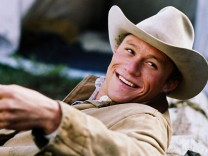 Publicity picture of actor Ledger in a scene from 'Brokeback Mountain'; heathledger