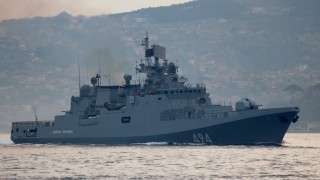 The Russian Navy's frigate Admiral Grigorovich sails in the Bosphorus on its way to the Mediterranean Sea, in Istanbul
