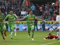 170409 COLOGNE April 9 2017 Lars Stindl C of Borussia Moenchengladbach celebrates scoring