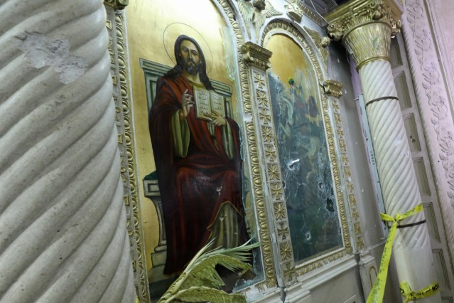 The aftermath of an explosion that took place at a Coptic church on Sunday in Tanta