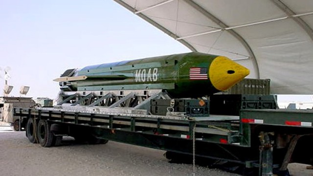 The GBU-43/B Massive Ordnance Air Blast bomb is pictured in this undated handout photo