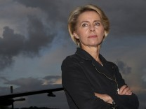 German Defence Minister von der Leyen poses for a picture at the NATO Hohn airbase in the northern German town of Alt Duvenstedt