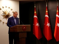 Turkish President Tayyip Erdogan gives a statement in Istanbul