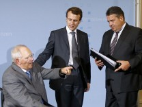 German and French Finance ministers Schaeuble and Sapin and German and French Economy ministers Gabriel and Macron meet in Berlin