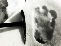 Oddities. Mythical Creatures. Abominable Snowman. pic: circa 1951. This picture was taken at 19,000 feet in the Menlung Basin, Nepal, and shows, supposedly, the footprints of the Abominable Snowman or Yeti.