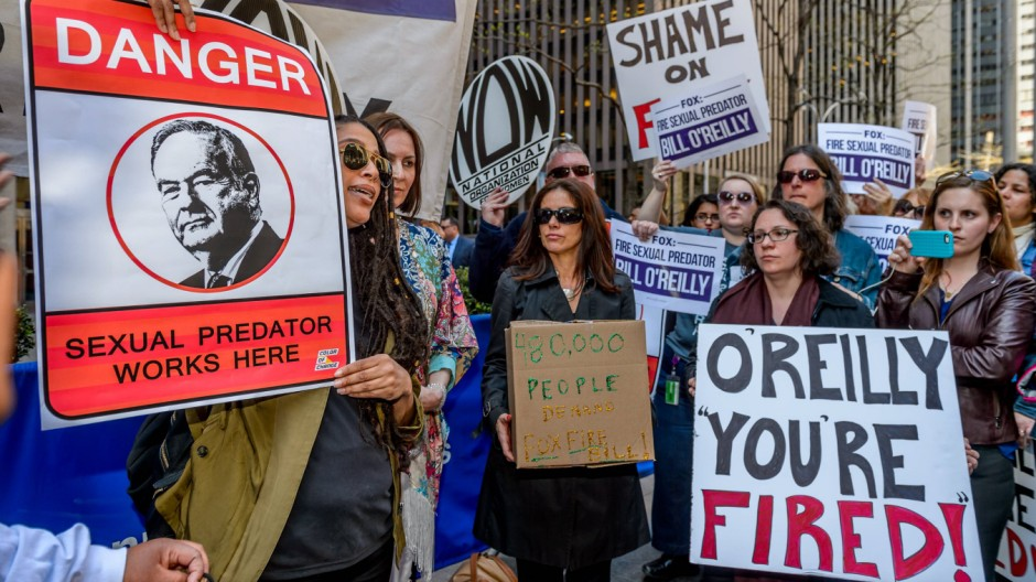 NYC Protest at Fox News to fire Bill O Reilly On April 18th women's group Ultraviolet organized