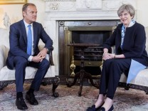 06 04 2017 London United Kingdom Theresa May meeting Donald Tusk British Prime Minister Theres
