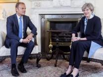 06 04 2017 London United Kingdom Theresa May meeting Donald Tusk British Prime Minister Theres