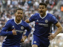 Chelsea's Eden Hazard celebrates scoring their third goal with Diego Costa