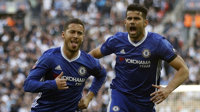 Chelsea's Eden Hazard celebrates scoring their third goal with Diego Costa