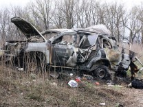 LUGANSK REGION UKRAINE APRIL 23 2017 An official of the OSCE Organisation for Security and Coo
