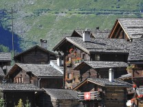 Traditional Swiss wooden houses chalets in the Alpine village Grimentz Valais Wallis Switzerla