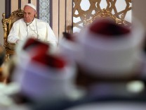 Pope Francis attends with Al-Azhar's Grand Imam Ahmed al-Tayeb during Al-Azhar International peace conference at Cairo