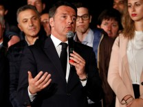 Italy's former Prime Minister Matteo Renzi speaks at the Democratic Party (PD) headquarters in Rome