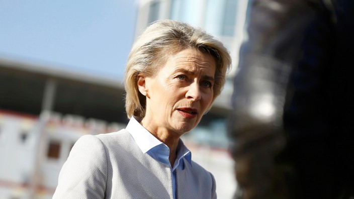 German Defence Minister von der Leyen answers questions during a Reuters interview in Berlin