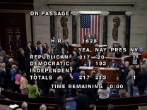 Video grab shows floor of U.S. House chamber after healthcare vote on Capitol Hill in Washington