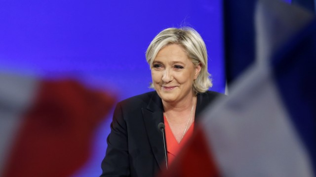 Presidential Candidate Marine Le Pen Holds Her Electoral Evening At Chalet Du Lac In Paris