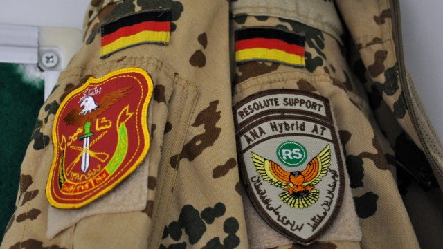 Badges on the uniform of a German armed forces Bundeswehr military advisor to the Afghan forces at camp Shaheen in Mazar-i-Sharif