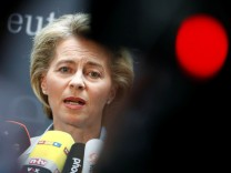 German Defence Minister von der Leyen gives a statement to the media prior she faces the defence commission of the lower house of parliament Bundestag in Berlin
