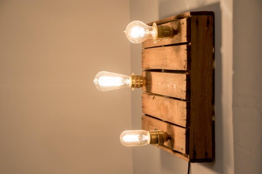 lampe aus weinkiste